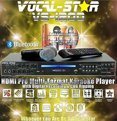 Vocal-Star Vs-1200 Bluetooth Cdg Dvd Karaoke Machine Player 2 Mics, 1200 Songs A