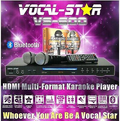 Vocal-Star Vs-600 Black Karaoke Machine Player 2 Microphones 1200 Song A