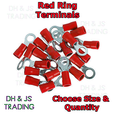 Red Insulated Ring Terminals - Electrical Splice Crimp Connector Eyelet Terminal