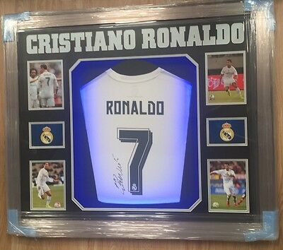 Framed Cristiano Ronaldo Signed Shirt Real Madrid Portugal Rare COA Light Up