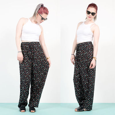 Womens Vintage 90's Black Floral Patterned High Waist Loose Fit Trousers 14