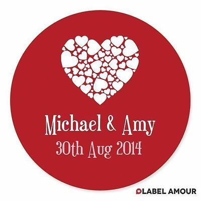 40 Personalised Engagement Wedding Favour Gift Sticker Seals Labels | Love Heart
