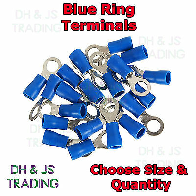 Blue Insulated Ring Terminals Electrical Splice Crimp Connector Eyelet Terminal