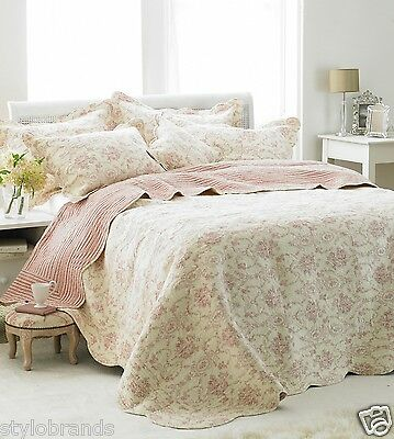 LUXURY Paoletti Etoille 100% Cotton Quilted Bedspread- Pink Traditional beddings