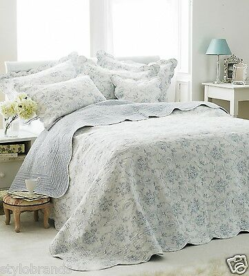 LUXURY Paoletti Etoille 100% Cotton Quilted Bedspread- Blue