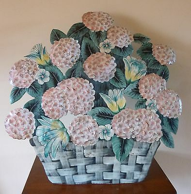 antq  ITALIAN tole FRENCH Country HYDRANGEA fireplace screen SHABBY cottage CHIC