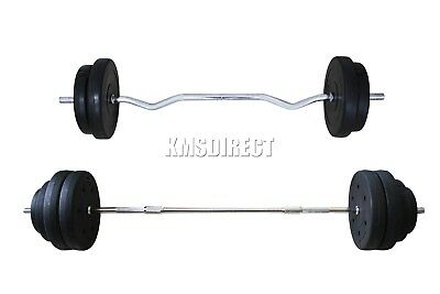 FoxHunter Curl Bar Barbell Set Weight Lifting Gym Triceps Arm Workout 30KG 60KG