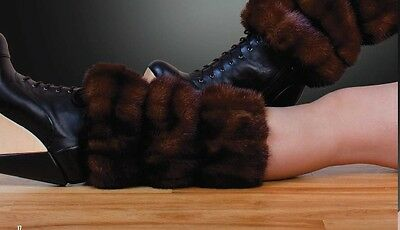 GENUINE MINK FUR GAITERS LEG WARMERS ONE SIZE Vison-Нoрка-Nerz