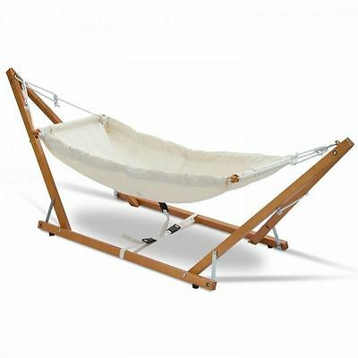 Foldable Natural Outdoor / Indoor Baby Hammock %100 Cotton FABRIC & Wooden STAND