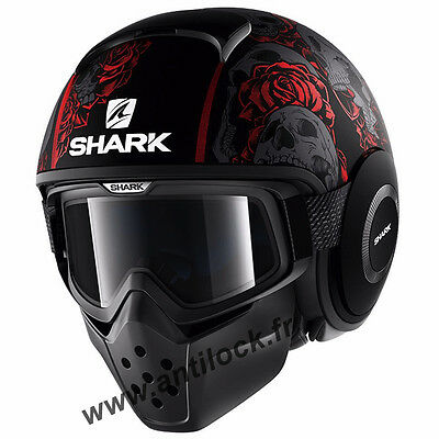 Casque Jet Shark RAW DRAK SANCTUS Noir/Rouge Mat KRA
