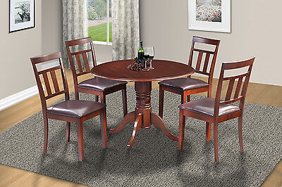 "42"" Round Table Kitchen Dining Room Chair Set W/. 9"" Drop Leaf In Mahogany"
