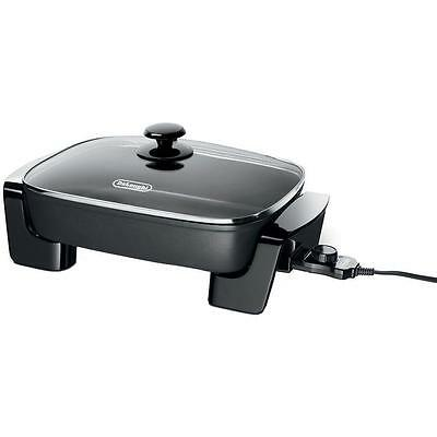 Delonghi Electric Skillet With Tempered Glass Lid Aluminum Non-stick Pan New!