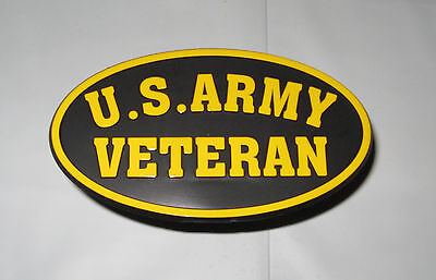 """Trailer Hitch Cover US ARMY VETERAN- Fits 2"""" standard trailer hitch"""