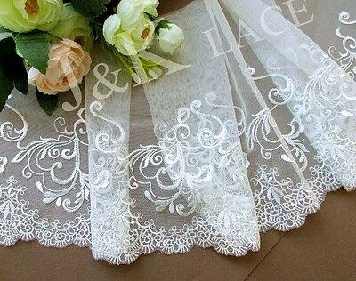 20 cm width Elegant Off White Embroidery Mesh Lace Trim
