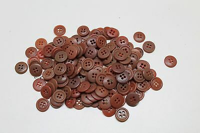 WWII persimmon orange brown Shirt buttons 4 holes rim 5/8 15mm Lot of 12 B2825