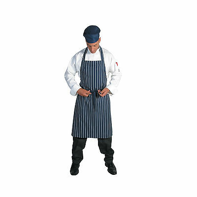 2 x Chef Cook Butcher Pinstripe Full Bib Quality DNC Apron Navy/White BRAND NEW