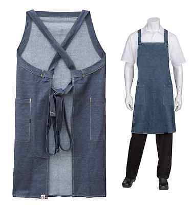 Chef Cook Waiter Chef Works Denim Crossover Back Bib Apron w/ pockets BRAND NEW