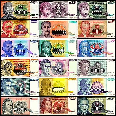 Yugoslavia 1990-1994 Lot of 20 HYPERINFLATION Notes, VF+++