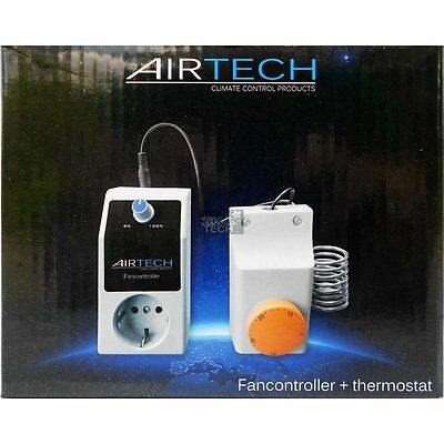 Airtech Fancontroller 6,5 Ampere mit Thermostat 1500 W Grow Abluft Rohrlüfter