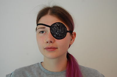 Medical Eye Patch, SPARKLY BLACK. Soft/Washable. For Left or right Eye.
