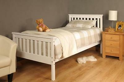 Wooden Single Bed 3ft White Frame with mattress