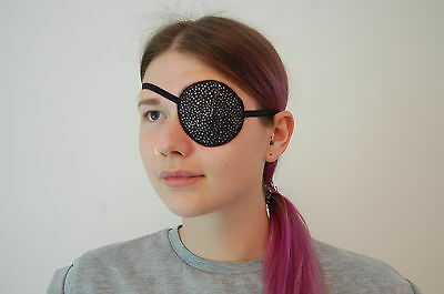 Medical Eye Patch, BLACK/SILVER SPECKLES Soft/Washable. For Left or right Eye.