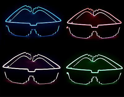 Flashing LED Light Up Pixel Party Glasses Glow Festival Shades Flashing Lights