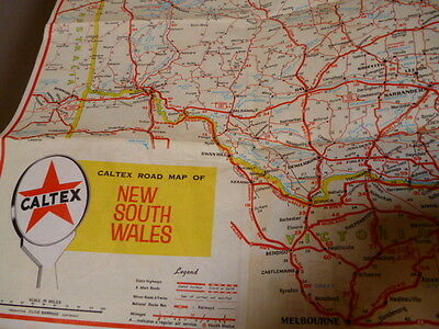 Vintage Caltex NSW Map, approx 1966, free post Australia wide