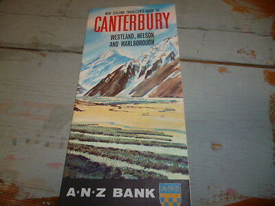 Vintage ANZ Canterbury NZ Road Map, approx 1956, free post Australia wide