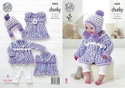 KINGCOLE 4653 CHUNKY BABY KNITTING PATTERN -16-24inch- not the finished garments