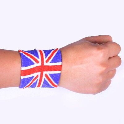 8sweat band sweatbands wristbands wristband union jack gifts 1 pair two pieces