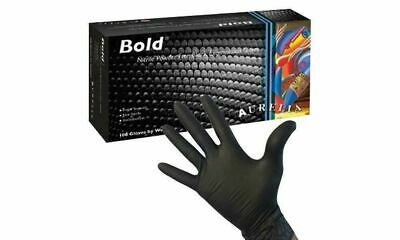 EXTREME QUALITY THICK - 5ML BLACK NITRILE Gloves 100 4000 Mechanic Tattooists AB