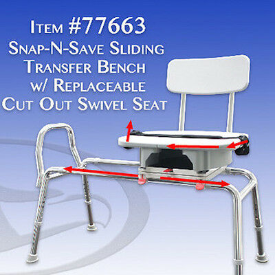New - Sliding Shower/Bath Swivel Transfer Bench/Chair Cut Out - Eagle 77663