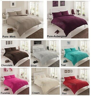 Pure Duvet Cover With Pillow Cases Bedding Set Single Double King Super King