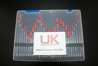 UK Angling Supplies Assorted  Crystal Waggler Float Set Including Float Box