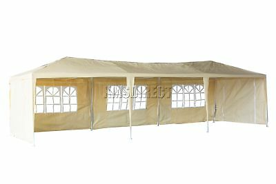 Waterproof Beige 3m x 9m Outdoor Garden Gazebo Party Tent Marquee Awning Canopy