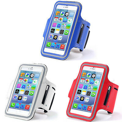 Lot 3 Brassards Sport Telephone Bleu + Blanc + Rouge Pour Apple Iphone 6 6S
