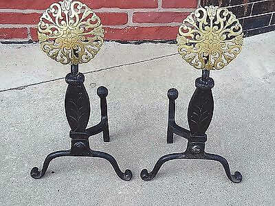 Mission Arts & Crafts Tudor Iron & Brass antique Fireplace andirons