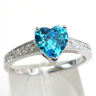 Pretty 2 Ct Aquamarine Heart Cut 925 Sterling Silver Ring Size 5-10
