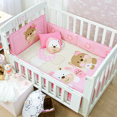 NEW Pink Beige Baby Bear Rabbit Crib Girl Bedding Nursery Set 6PC