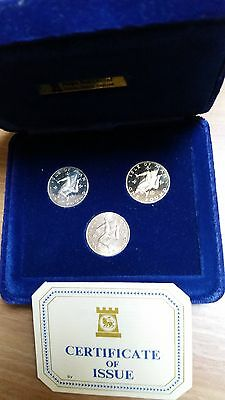 1979 Isle Of Man 3 Coin Proof £1 One Pound Set - Silver, Virenium & Cupro Nickel