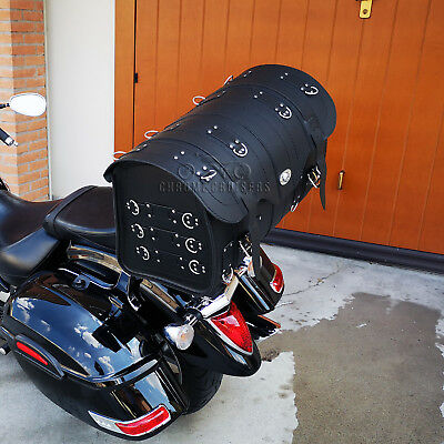 Black Leather Rear Bag Sissy Bar Saddlebag Pannier Harley Davidson Suzuki Honda
