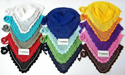 Fly Veil Horse Ear Net Crochet With Piping 14 Colors Full, Cob, Pony Amidale