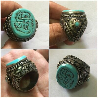Men's Islamic Ring TURQUOISE Stone Vintage Afghan Arab Engraved Intaglio 8.5 US
