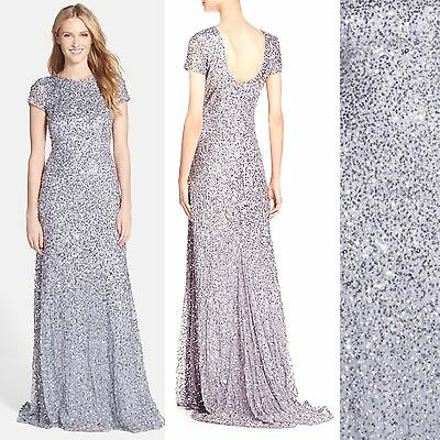 Size: 12 #D72 NWT  Adrianna Papell Short Sleeve Sequin Mesh Gown Navy// Navy