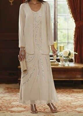 Mother of Bride Groom Women's Wedding Beige Gown&Jacket formal plus L XL1X 2X 3X