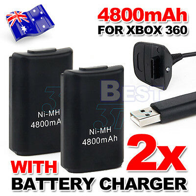 2x USB Charger Cable for XBOX 360 Battery Rechargeable Wireless Game Controller