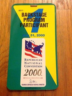 2000 Republican National Convention Backstage Program Pass George W. Bush