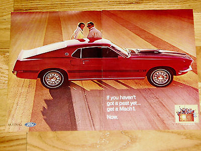 1969 FORD MUSTANG MACH 1 ORIGINAL AD-poster/print-302/351/428/429/V8 engine/1970