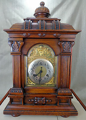 Antique German Bracket Clock Large Ornate Chiming Fully Serviced Working Order